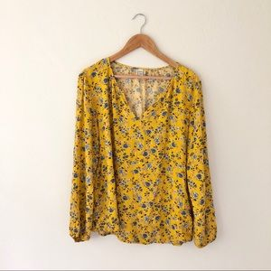 Old Navy Floral Mustard Blouse